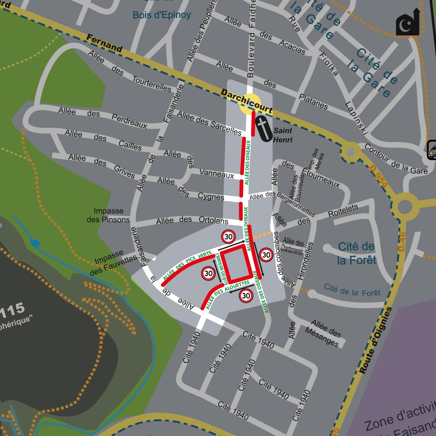 Carte reprenant les nouvelles règles de stationnement et de circulation aux abords de l'école Jean Jaurès